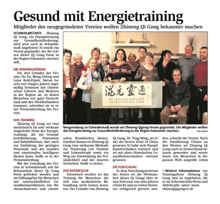 Zhineng Qigong Vereinsgründung HNA